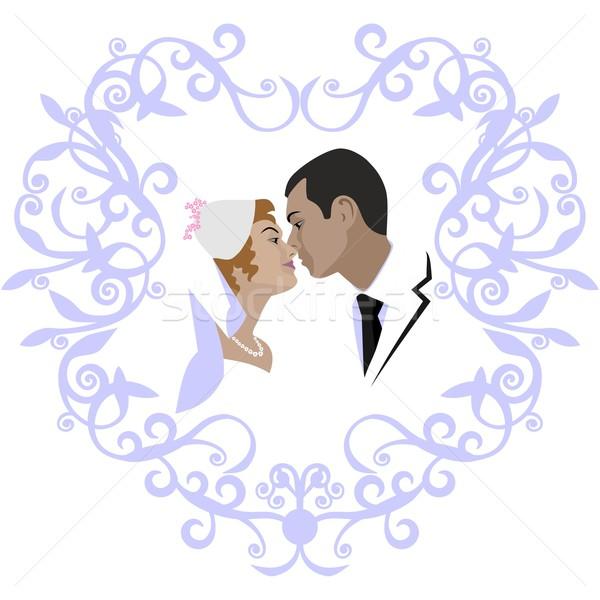 ślub para wektora kolor kobiet tle Zdjęcia stock © Dimanchik