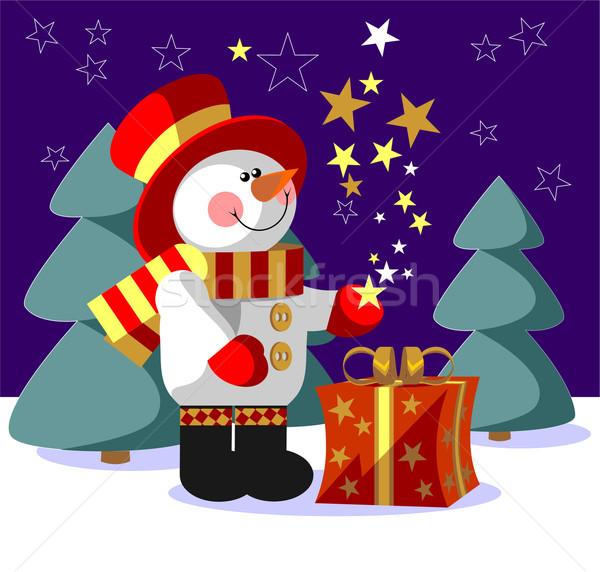 Snowman kolor wektora dar szczęśliwy charakter Zdjęcia stock © Dimanchik