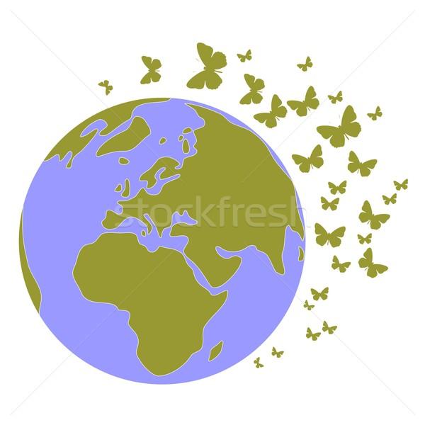 земле мира набор вектора воды бабочка Сток-фото © Dimanchik