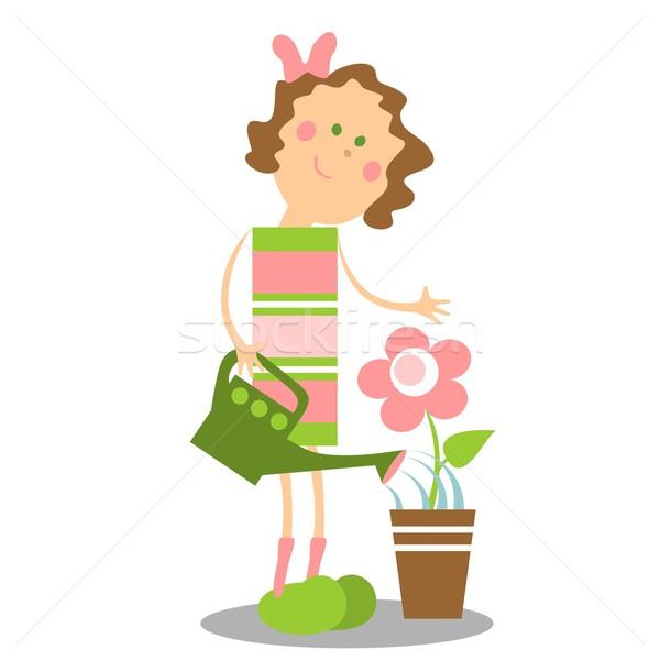Dziewczyna kolor 14 wektora kwiat wiosną Zdjęcia stock © Dimanchik