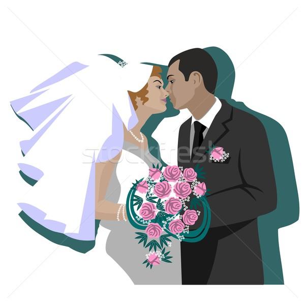 свадьба пару вектора цвета женщины тело Сток-фото © Dimanchik