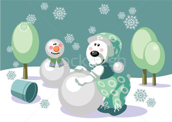 несут снеговик цвета 16 вектора Сток-фото © Dimanchik