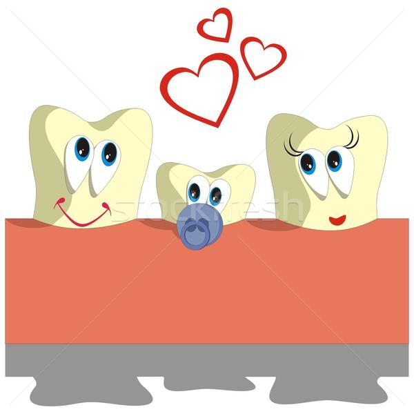 Diş karikatür ayarlamak vektör kalp çocuk Stok fotoğraf © Dimanchik
