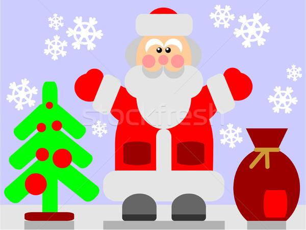 Дед Мороз цвета вектора счастливым природы снега Сток-фото © Dimanchik
