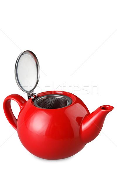 Rojo tetera aislado blanco cerámica Foto stock © DimaP