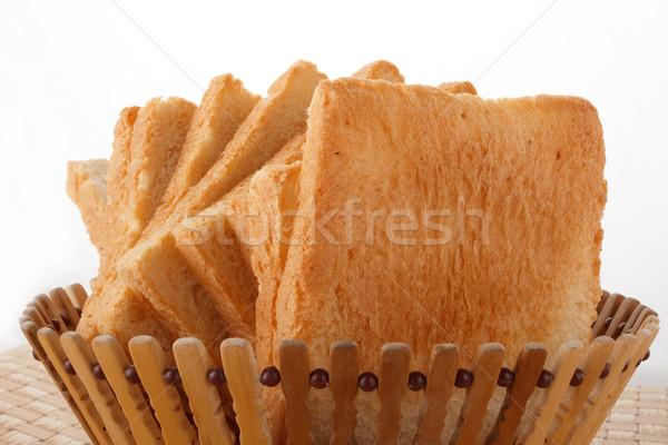 Fehér kenyér kosár fehér étel kenyér arany Stock fotó © DimaP