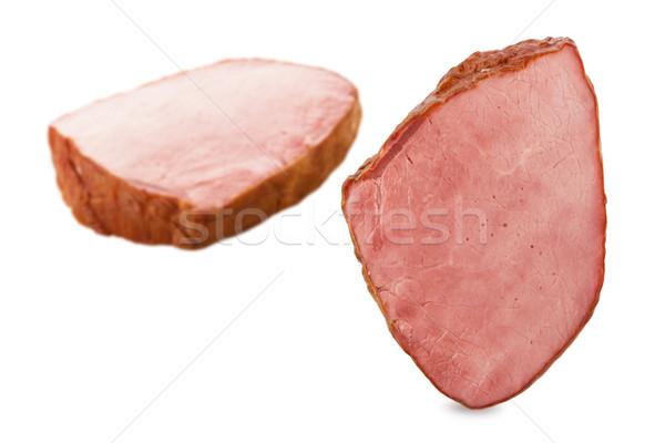 Füstölt borjúhús darabok izolált fehér étel Stock fotó © DimaP