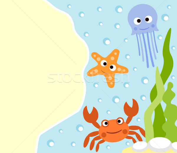 Stock photo: Background sea animals cartoon