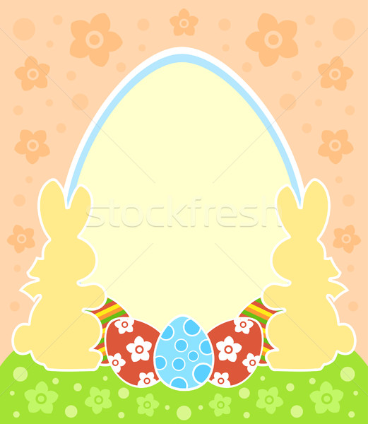 Easter background with bunny and eggs Stock photo © Dimpens