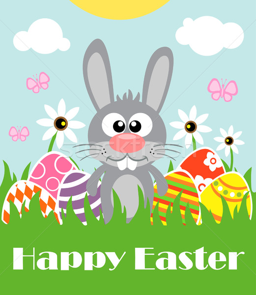 Happy Easter background with funny frabbit  Stock photo © Dimpens