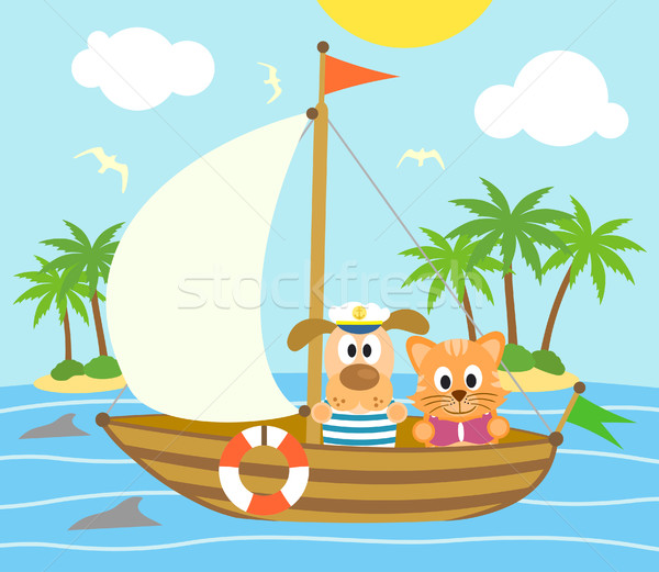 Summer background with dog and cat on a boat Stock photo © Dimpens