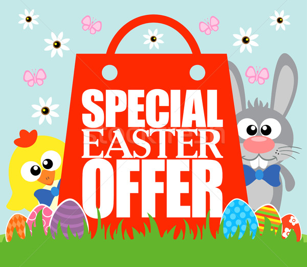 Special Easter Offer , funny rabbit and chicken Stock photo © Dimpens
