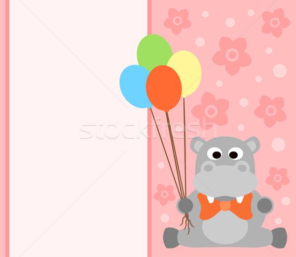 カード カバ 面白い 花 笑顔 パーティ ストックフォト © Dimpens