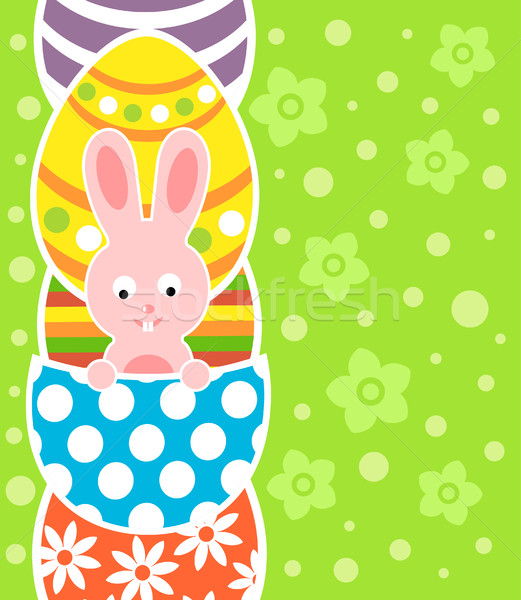 Easter background with rabbit and eggs Stock photo © Dimpens