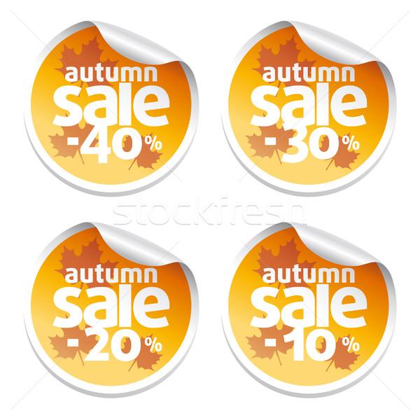 Vente automne autocollants affaires papier Photo stock © Dimpens