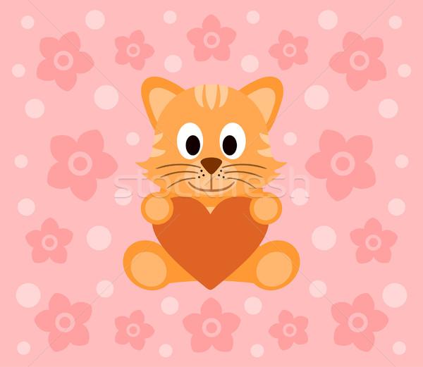 Chat cartoon drôle fleur sourire heureux Photo stock © Dimpens