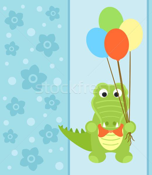 Cartão crocodilo engraçado flor sorrir festa Foto stock © Dimpens