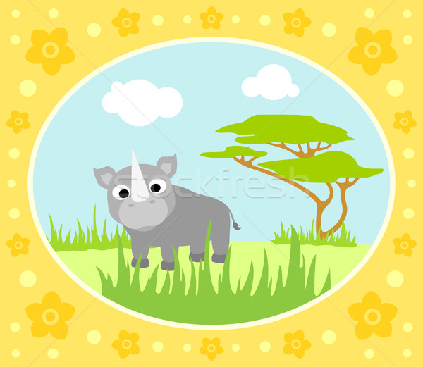 Safari rhino karty kwiaty drzewo krajobraz Zdjęcia stock © Dimpens
