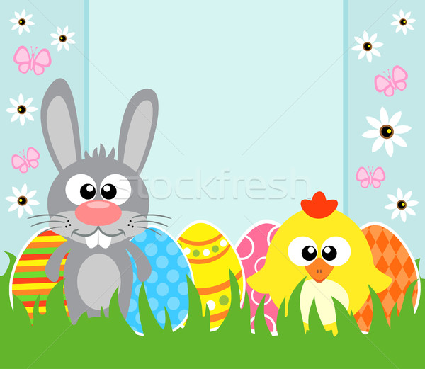 Holiday Easter background with  frabbit and chicken  Stock photo © Dimpens