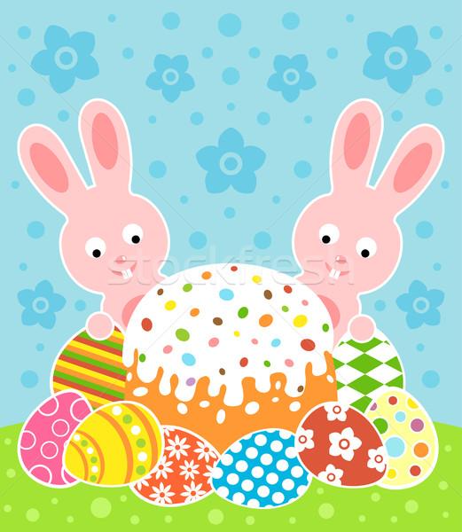 Húsvét torta nyulak kártya tavasz absztrakt Stock fotó © Dimpens