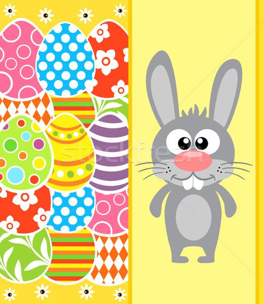 Paskalya tavşan yumurta sarı kart bahar Stok fotoğraf © Dimpens