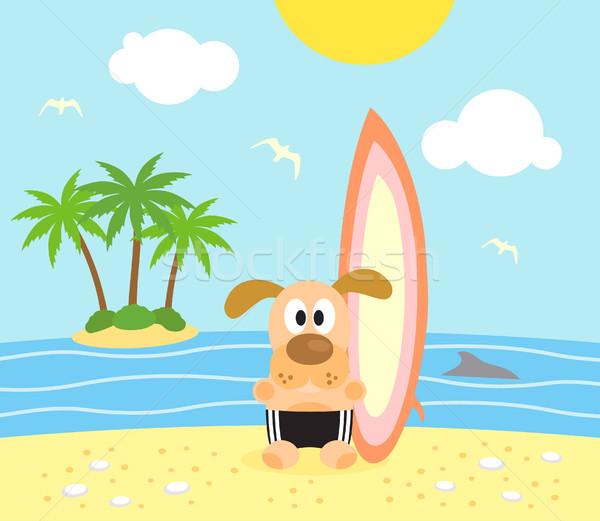 Nyár kutya szörfös vicces égbolt víz Stock fotó © Dimpens