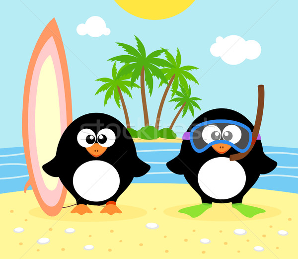 Summer background with penguin Stock photo © Dimpens