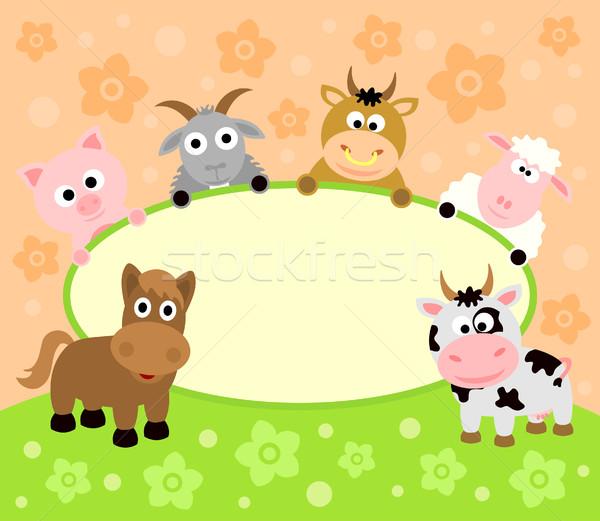 Kart hayvanlar komik gülümseme parti mutlu Stok fotoğraf © Dimpens