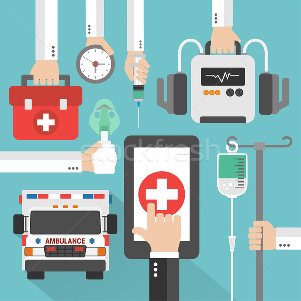 Ambulance médicaux ligne design technologie web Photo stock © Dimpens