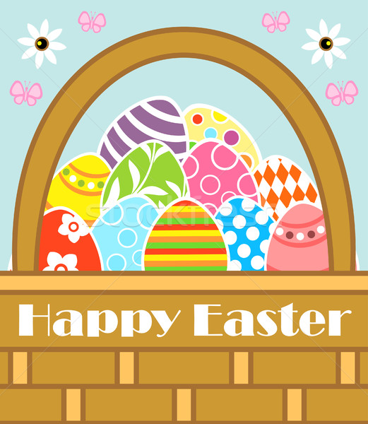 Happy Easter background with basket Stock photo © Dimpens