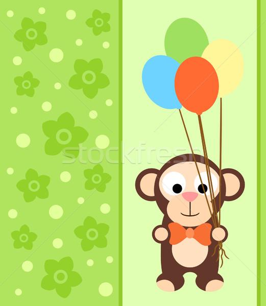 Carte singe drôle fleur sourire fête Photo stock © Dimpens