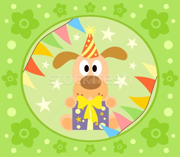 Cartoon chien drôle fleur sourire fête Photo stock © Dimpens