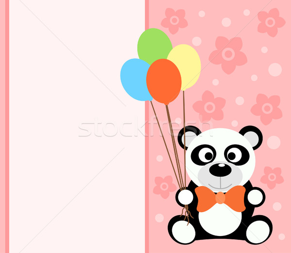 Kaart panda grappig bloem glimlach partij Stockfoto © Dimpens