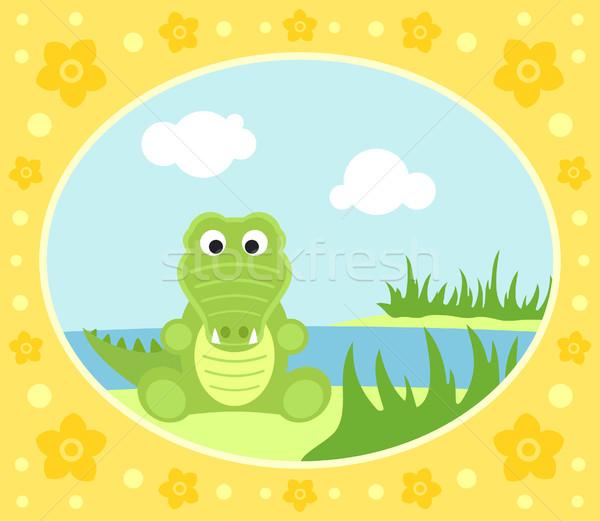 Safari krokodil kart çiçekler manzara dizayn Stok fotoğraf © Dimpens