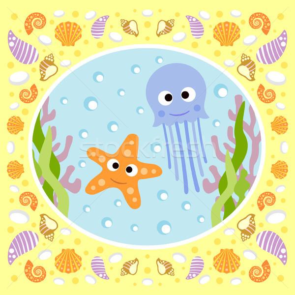 Tenger meduza tengeri csillag kártya mosoly természet Stock fotó © Dimpens