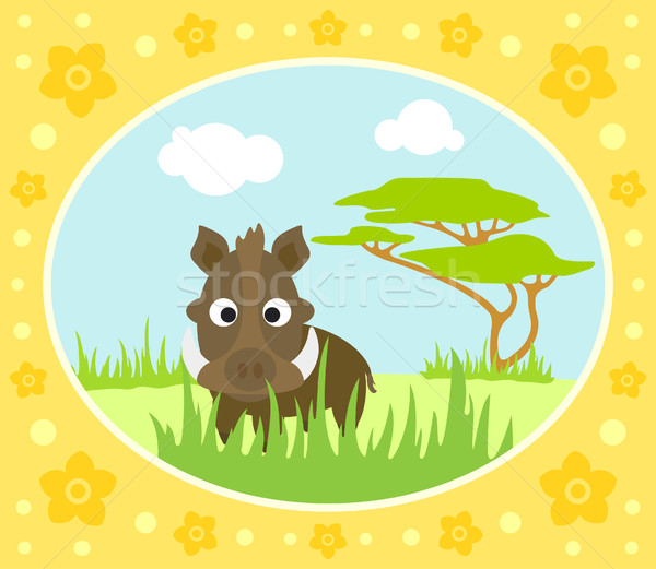 Safari background with boar Stock photo © Dimpens