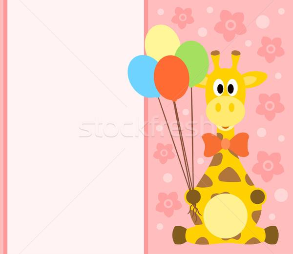 Photo stock: Carte · girafe · drôle · fleur · sourire · fête