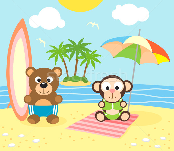 Summer background with bear and monkey on the beach Stock photo © Dimpens