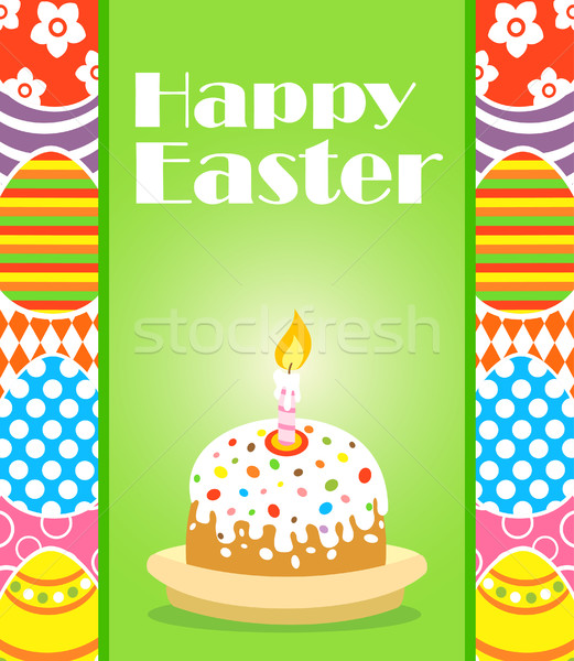 Kellemes húsvétot torta kártya húsvét tavasz természet Stock fotó © Dimpens