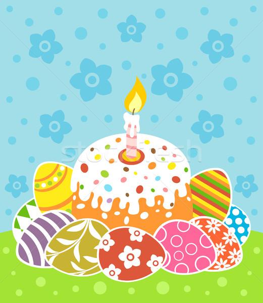 Húsvét torta tojások kártya tavasz absztrakt Stock fotó © Dimpens