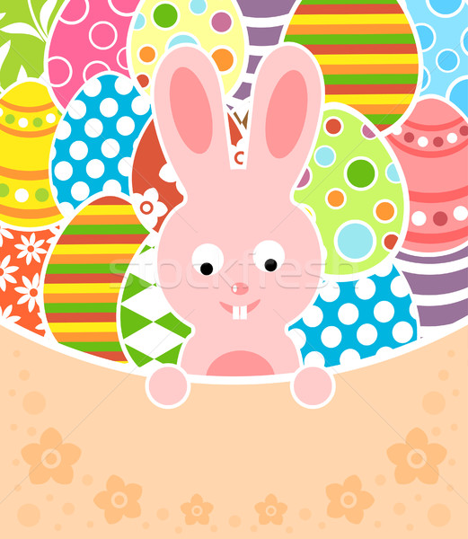 Easter background with eggs and rabbit Stock photo © Dimpens