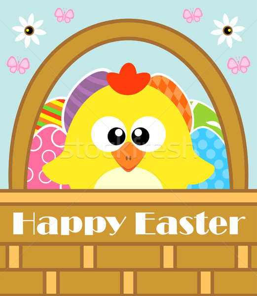 Happy Easter background with chicken Stock photo © Dimpens