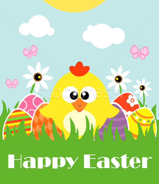 Happy Easter background with funny chicken Stock photo © Dimpens