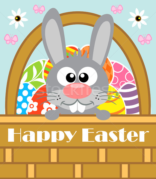 Kellemes húsvétot nyúl kártya húsvét tavasz pillangó Stock fotó © Dimpens