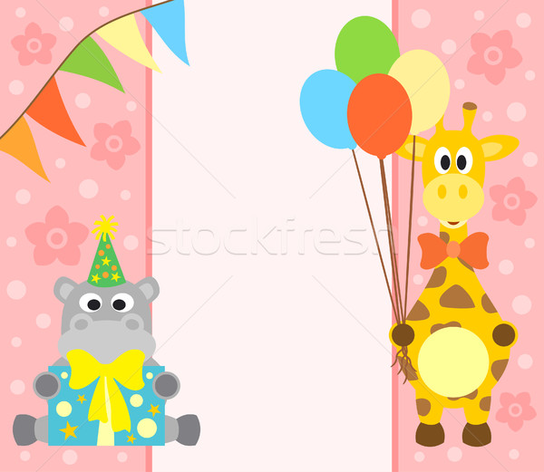 Hipopotam żyrafa funny kwiat uśmiech strony Zdjęcia stock © Dimpens