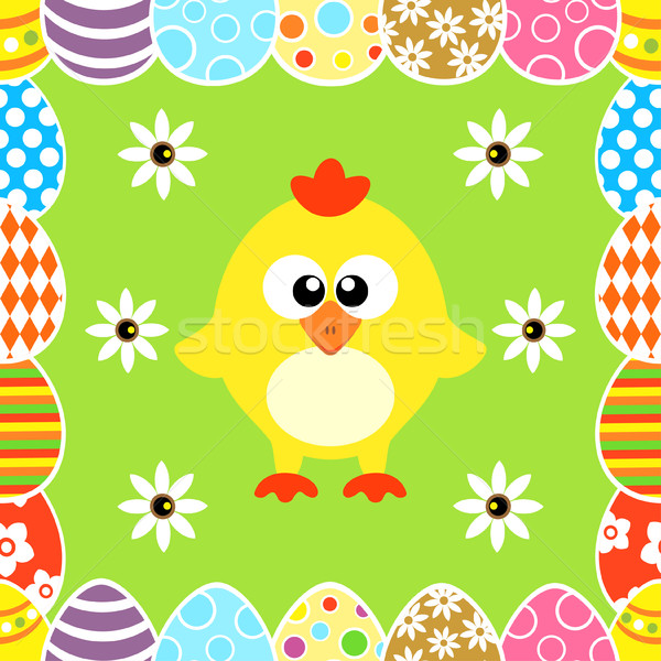 Seamless Easter  background with  chicken  Stock photo © Dimpens