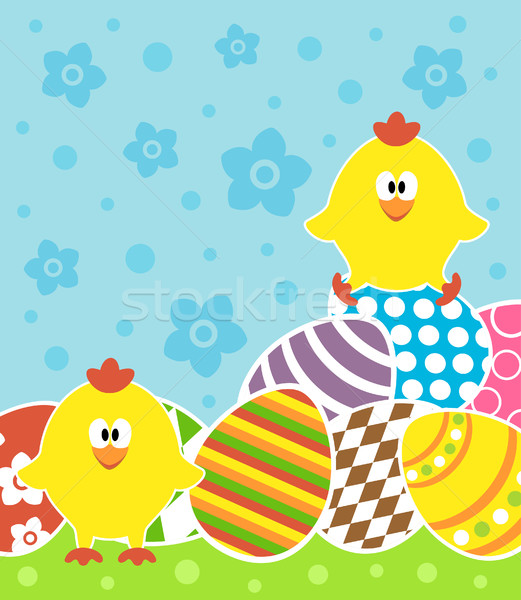 Easter background with chickens and eggs Stock photo © Dimpens
