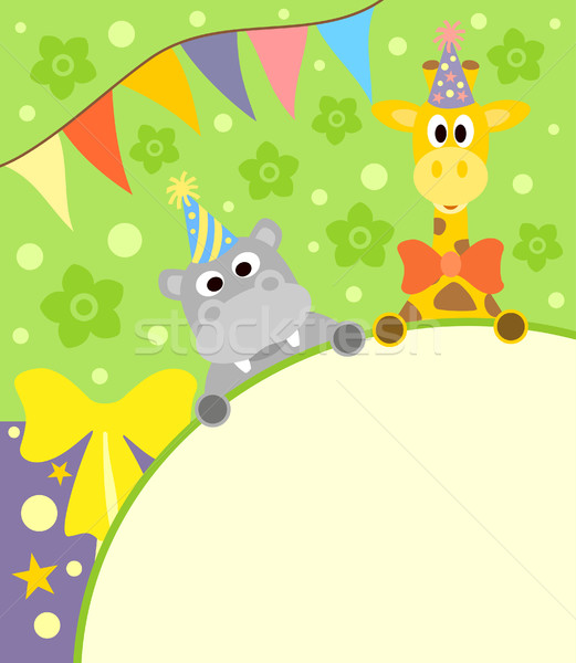 Background  with funny hippopotamus and giraffe Stock photo © Dimpens
