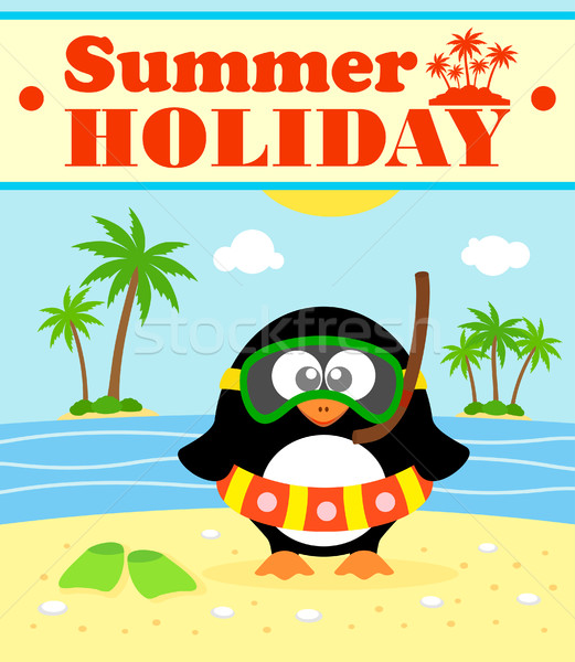 Summer holiday background with penguin Stock photo © Dimpens