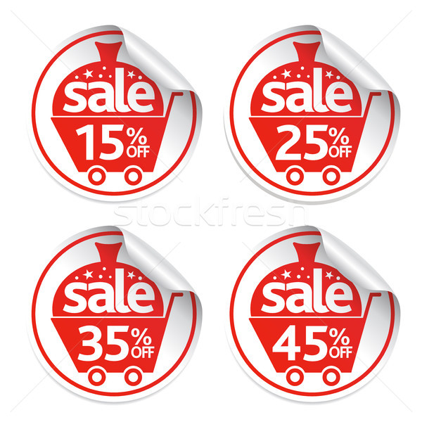 Holiday New Year stickers sale set vector Stock photo © Dimpens